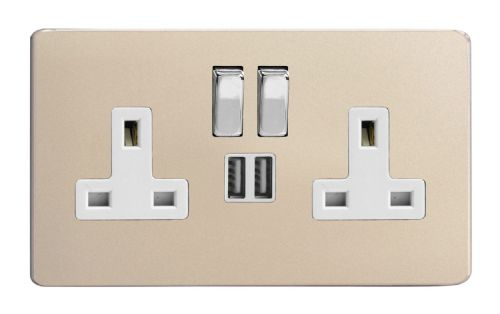 Varilight XDN5U2SWS Screwless Satin Chrome 2 Gang Double 13A Switched Plug Socket 2.1A USB